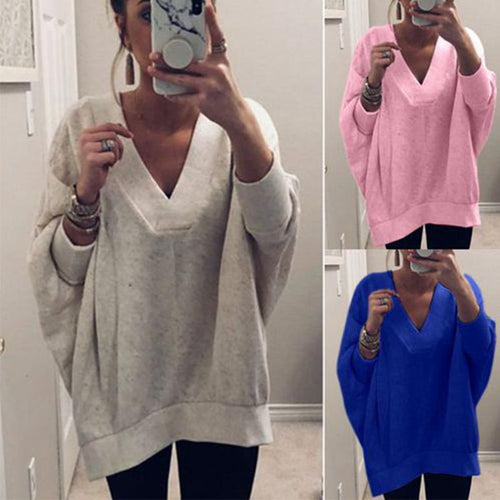 V Neck Long Sleeve Plain Loose Casual T-Shirts - yoyosfashion
