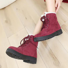 Load image into Gallery viewer, Plain  Flat  Velvet  Criss Cross  Round Toe  Casual Date Outdoor  Short Flat Boots - yoyosfashion