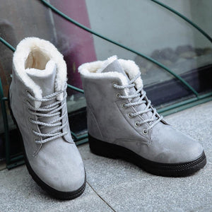 Plain  Flat  Velvet  Criss Cross  Round Toe  Casual Date Outdoor  Short Flat Boots - yoyosfashion