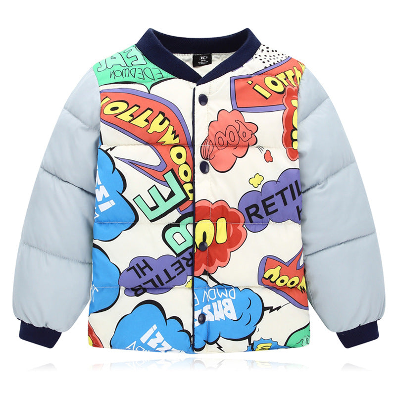 Funny Lapel Collar Baseball Cotton Pedded Printed Coat - yoyosfashion