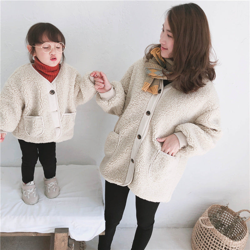 Mom Girl Plain Button Packets Floss Padded Coat - yoyosfashion