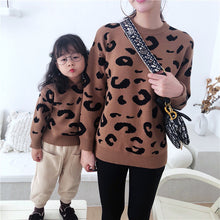 Load image into Gallery viewer, Mom Girl Leopard Printed Long Sleeves Cotton Hooded Sweater - yoyosfashion