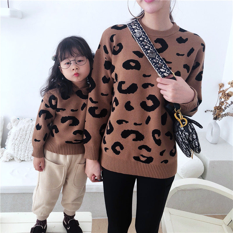 Mom Girl Leopard Printed Long Sleeves Cotton Hooded Sweater - yoyosfashion