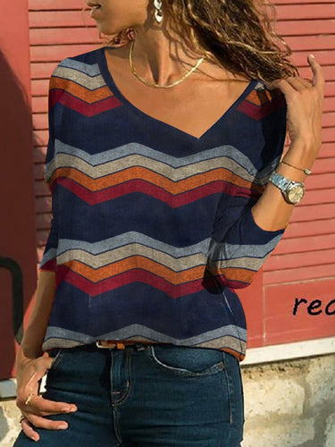 V Neck  Zigzag Striped T-Shirts - yoyosfashion