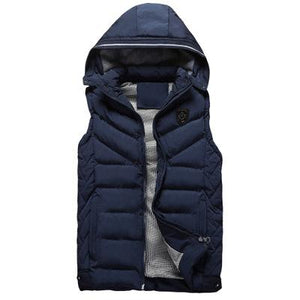 Casual Fashion Thicken Warm Plain Hooded Waistcoat - yoyosfashion