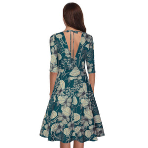 Sexy Deep V Collar Floral Printed Defined Waist Skater Dress - yoyosfashion