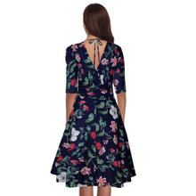 Load image into Gallery viewer, Sexy Deep V Collar Floral Printed Defined Waist Skater Dress - yoyosfashion