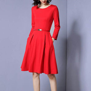Round Collar Pure Color Long Sleeve Skater Dress With Belt - yoyosfashion