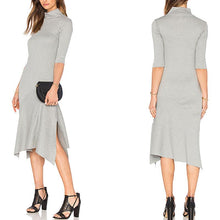 Load image into Gallery viewer, Plain High Collar Irregular Casual Dress - yoyosfashion