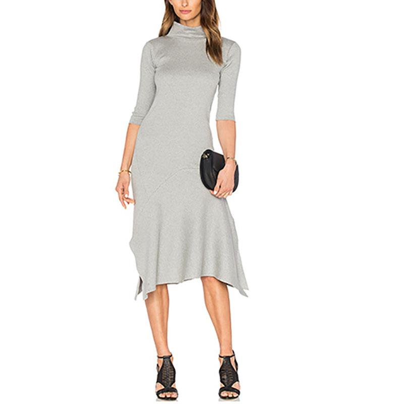 Plain High Collar Irregular Casual Dress - yoyosfashion