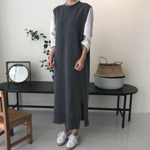 Plain Casual Long Knit Sweater Vest - yoyosfashion
