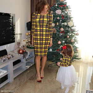 Mom Girl Plaid Tulle Matching Dress - yoyosfashion