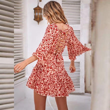 Load image into Gallery viewer, Sexy Floral Printed Ruffle Dress - yoyosfashion