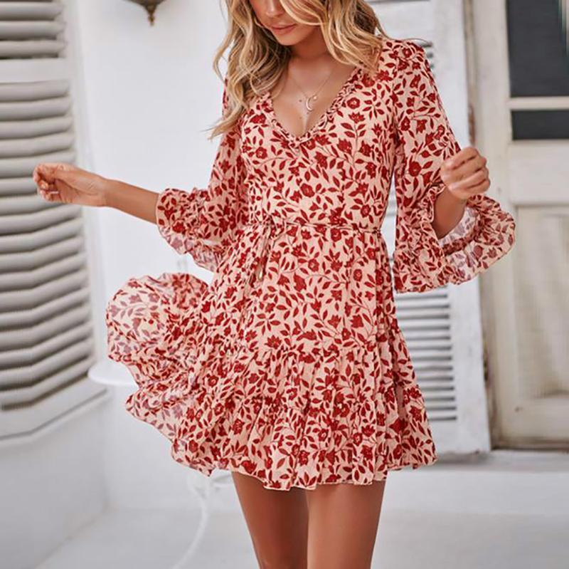 Sexy Floral Printed Ruffle Dress - yoyosfashion