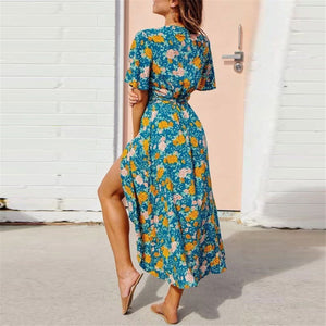 V Collar Floral Printed Asymmetrical Vacation Dress - yoyosfashion