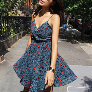 Summer Deep V Collar Floral  Printed Vacation Dress - yoyosfashion