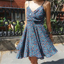 Load image into Gallery viewer, Summer Deep V Collar Floral  Printed Vacation Dress - yoyosfashion