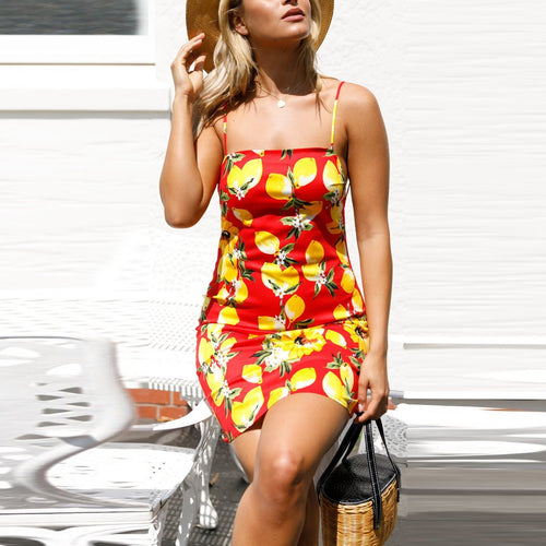 Fruit Print Beach Sling Dress - yoyosfashion