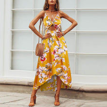 Load image into Gallery viewer, Printed Irregular Split Chest   Knotted Bohemian Beach Dress - yoyosfashion