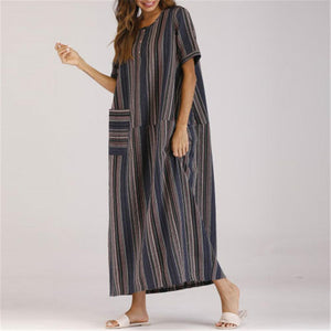 Casual Round Collar Loose Striped Vacation Dress - yoyosfashion