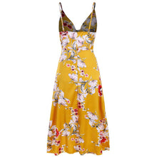 Load image into Gallery viewer, Summer Floral Printed Strappy  Asymmetrical Vacation Dress - yoyosfashion