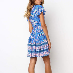 V Collar Floral Printed Mini Blue Vacation Dress - yoyosfashion
