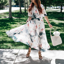 Load image into Gallery viewer, Printed Ink Sleeve Casual Waist Maxi Dress - yoyosfashion