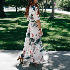 Printed Ink Sleeve Casual Waist Maxi Dress - yoyosfashion