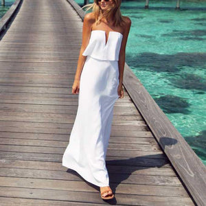 V Collar Tube Plain Maxi Dress - yoyosfashion