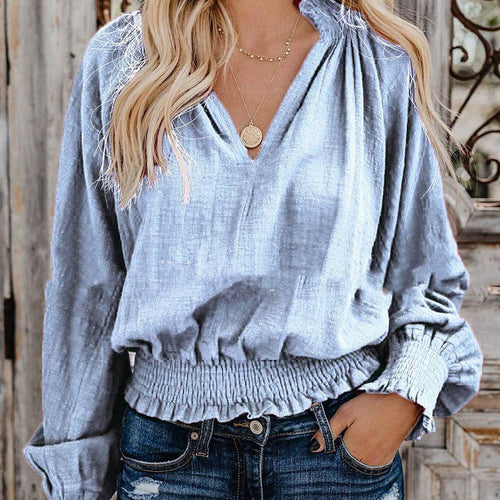 Fashion Solid Color Aliexpress Long Sleeve V-Neck Pleated Top - yoyosfashion