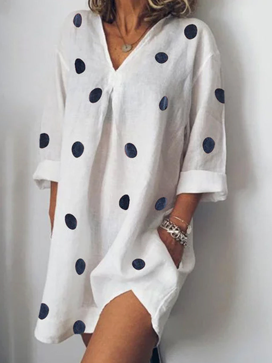 V Neck  Patch Pocket  Polka Dot Shift Dress - yoyosfashion