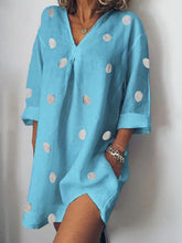 Load image into Gallery viewer, V Neck  Patch Pocket  Polka Dot Shift Dress - yoyosfashion
