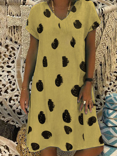 V Neck  Print Shift Dress - yoyosfashion