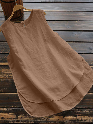 Round Neck  Loose Fitting  Plain Sleeveless T-Shirts - yoyosfashion