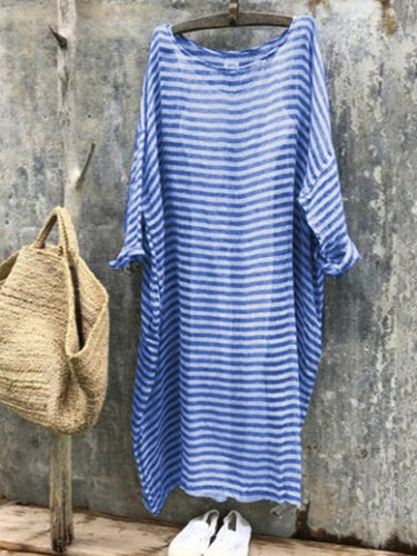 Round Neck  Striped Shift Dress - yoyosfashion