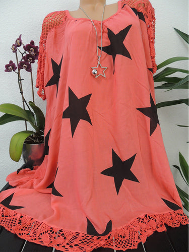 Round Neck  Patchwork  Star Shift Dress - yoyosfashion