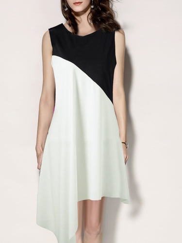 Round Neck  Asymmetric Hem  Color Block Shift Dress - yoyosfashion