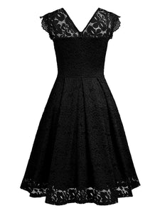 V Neck  Lace Skater Dress - yoyosfashion