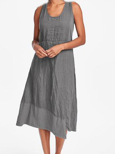 Round Neck  Plain Shift Dress - yoyosfashion