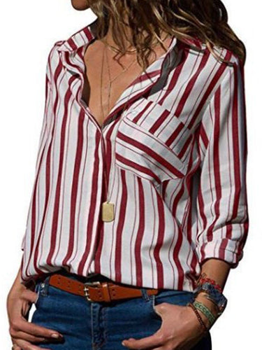 Turn Down Collar  Patchwork  Striped Blouses - yoyosfashion