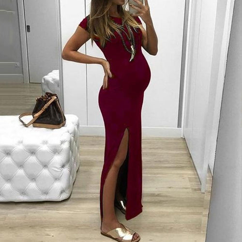 Maternity Casual Pure Color Slit Round Collar Dress
