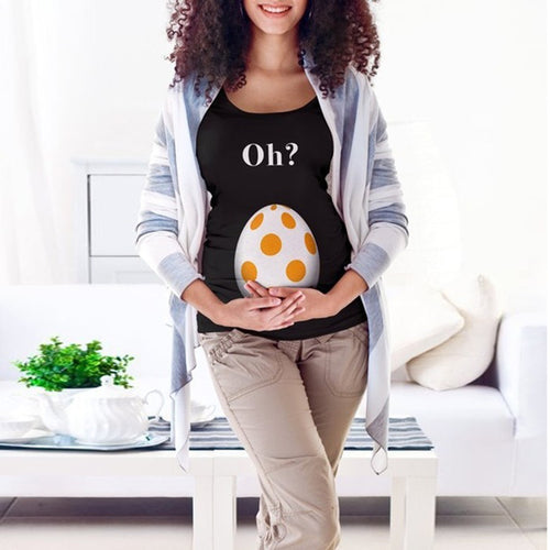 Maternity Casual Cartoon Print Round Neck T-Shirt