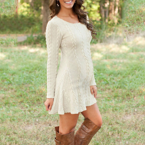 Casual Round Neck Solid Color Long Sleeve Mini Dress