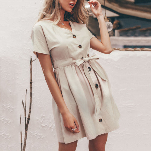 Casual V-Neck Short-Sleeved Mini Dress