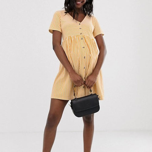 Maternity V Neck Short Sleeve Stripe Mini Dress