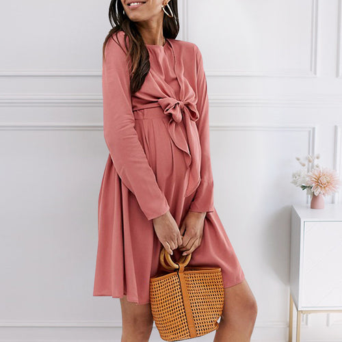 Maternity Cute Bowknot Long Sleeve Plain Mini Dress