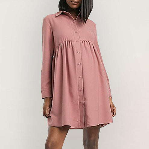 Maternity Casual A Lapel Long Sleeve Plain Mini Dress