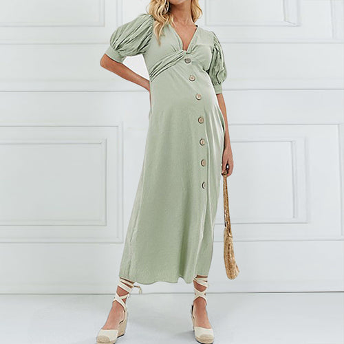 Maternity Casual Bishop Sleeve Single-Breasted Maxi Dress