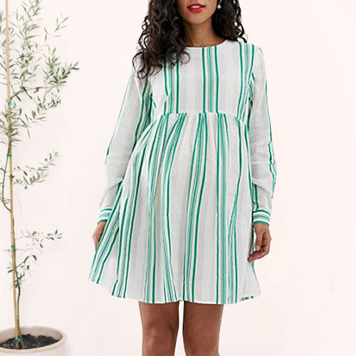 Maternity Casual Round Neck Long Sleeve Stripe Mini Dress