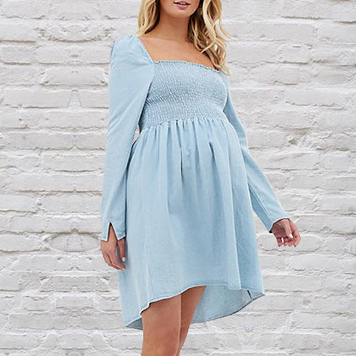 Maternity Cute Square Collar Long Sleeve Plain Mini Dress